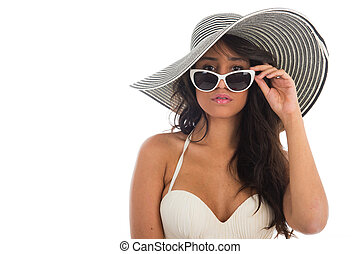 Portrait of black woman in white bikini with straw hat -...