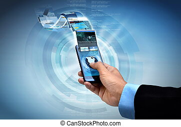 Internet on smart phone Concept - Businessman browsing...