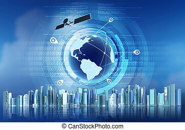 GPS concept - Conceptual image of Global Positioning System...