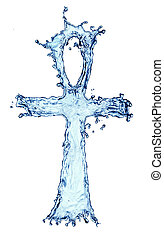 Egyptian cross Ankh made of water splash isolated on the...