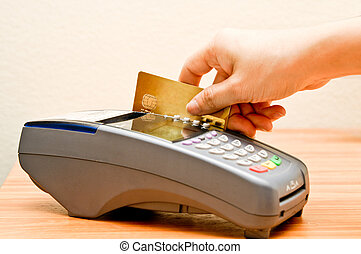 payment machine and Credit card in supermarket