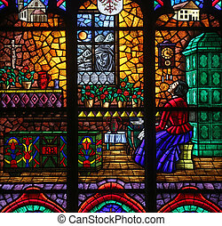 The miraculous image of Mary at Absam, Stained glass in...