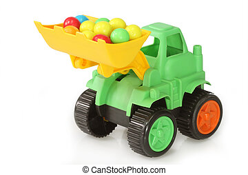Toy digger - Colourful childs toy digger lorry or truck