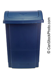 Trash can - New plastic trash can, isolated on a white...