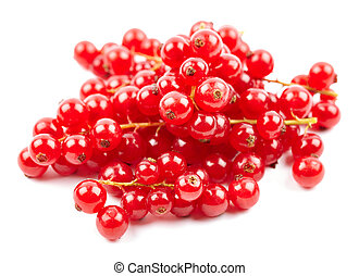 Fresh redcurrant berries on white