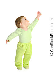 Small smiling baby in green isolated