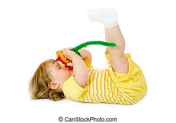 小, 女孩, 玩具, 花