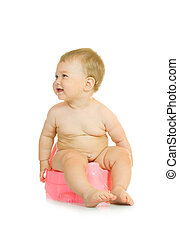 Small smiling baby on pink chamber-pot isolated 3