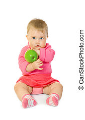 Small baby with green apple isolated