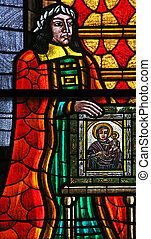 Stained glass in Votiv Kirche The Votive Church in Vienna,...