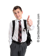 School boy showing thumbs up hand sign - School boy pre teen...