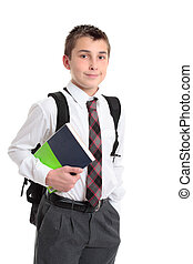 Schoolboy with books and backpack