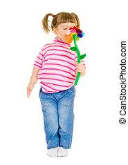 女孩, 玩, 玩具, 很少, 花