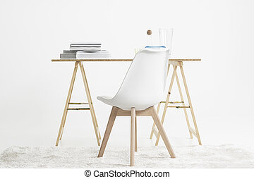 Modern minimalist desk and chair - Modern minimalist desk or...