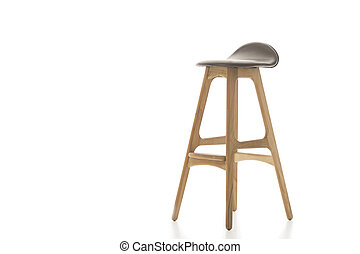 Tall Wooden Leg Stool on White - Single Tall Wooden Leg...