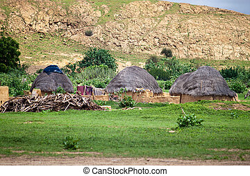 Village in Thar desert in India