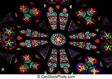Stained glass in Votiv Kirche (The Votive Church) in Vienna,...