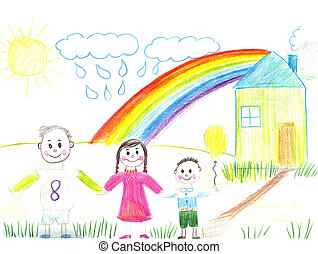Happy family with child - Child drawing.Happy family