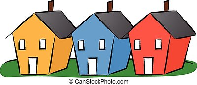 Houses in a row - Vector illustration of three colorful...