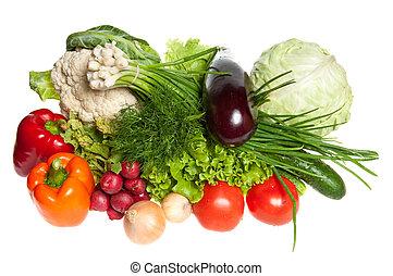 Fresh Vegetables and other foodstuffs. Studio shot.