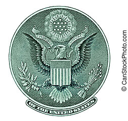 Eagle seal from dollar bill isolated with clipping path