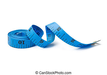 Measuring tape - Blue measuring tape for tailor on white...