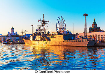 Military ship in Helsinki, Finland - Scenic sunset evening...