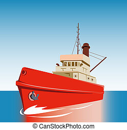 Tugboat - illustration of a tugboat sailing on the ocean