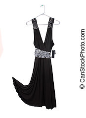 black dress sale - Sleeveless black dress on hanger with tag...
