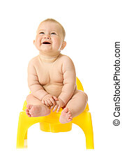 Small smiling baby and chamber-pot