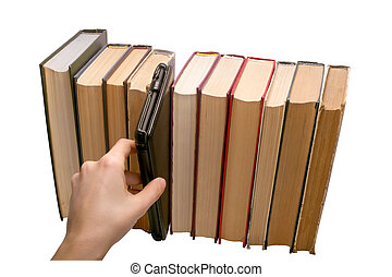E-book vs old books choise isolated on the white background