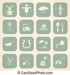 Farming retro icons. Vector illustration