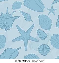 Seamless pattern of hand drawn seashells. Vector...