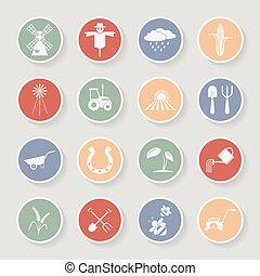 Farming round icons. Vector illustration