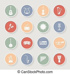 Round Musical Instruments Icons. Vector illustration