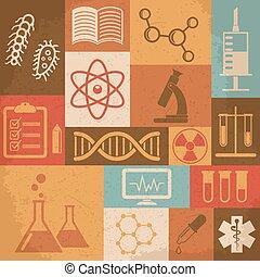 Retro, Ciencia, médico, y, educación, icons.,...
