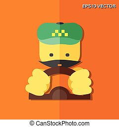 taxi driver flat icon - Vector flat icon - taxi driver For...