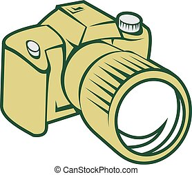 Camera DSLR Retro - Illustration of a camera dslr facing...