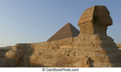 famous ancient Sphinx and Cheops pyramid in Giza Cairo Egypt...