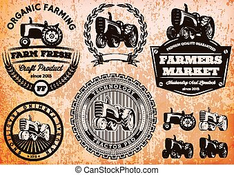 set of vector labels with a tractor for livestock and crop
