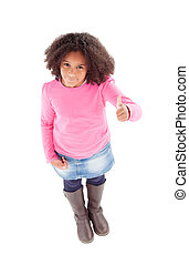 Adorable Afroamerican girl top view saying Ok isolated on a...