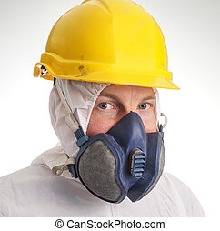 Man in protective suit, helmet and a respiraton