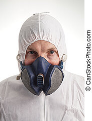 Man in protective suit, gloves and a respiraton