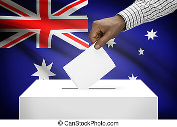 Ballot box with national flag on background - Australia