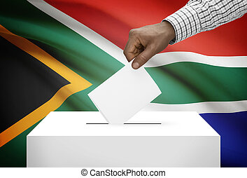 Ballot box with national flag on background - South Africa