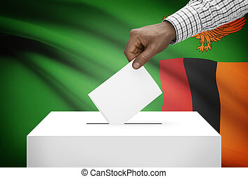 Ballot box with national flag on background - Zambia