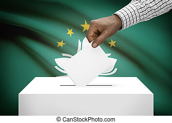 Ballot box with national flag on background - Macau