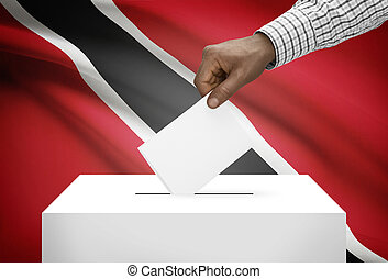 Ballot box with national flag on background - Trinidad and...
