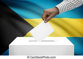 Ballot box with national flag on background - Bahamas