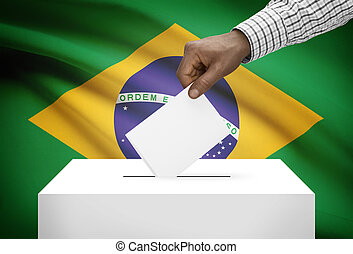 Ballot box with national flag on background - Brazil